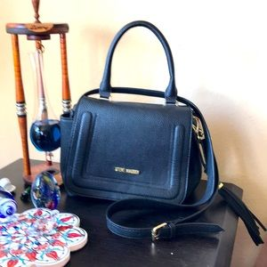 Steve Madden black ladies purse with gold accents